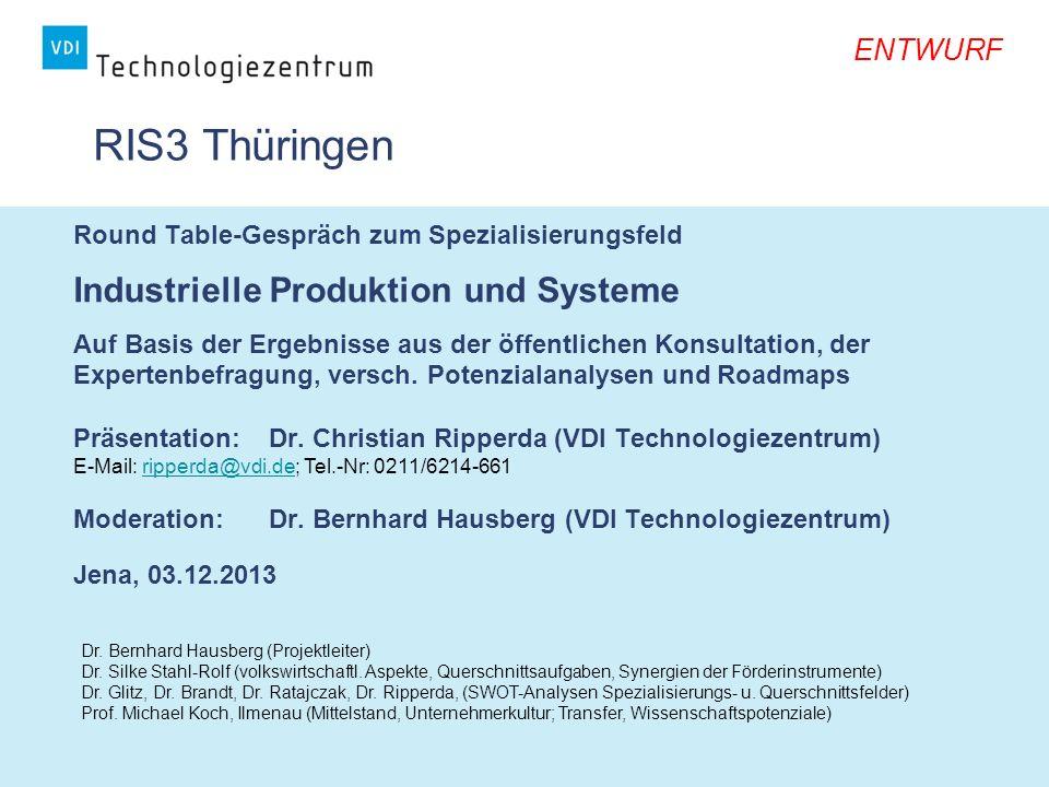 RIS3 Thüringen Industrielle Produktion und Systeme ENTWURF