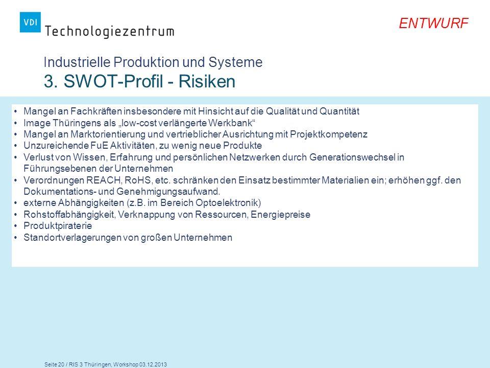Industrielle Produktion und Systeme 3. SWOT-Profil - Risiken