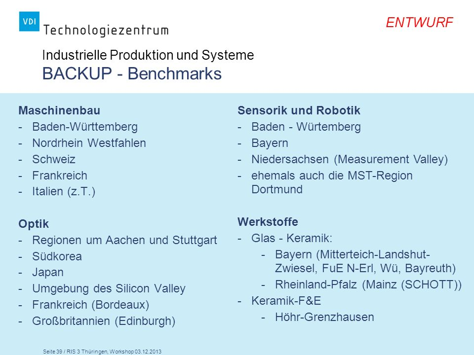 Industrielle Produktion und Systeme BACKUP - Benchmarks