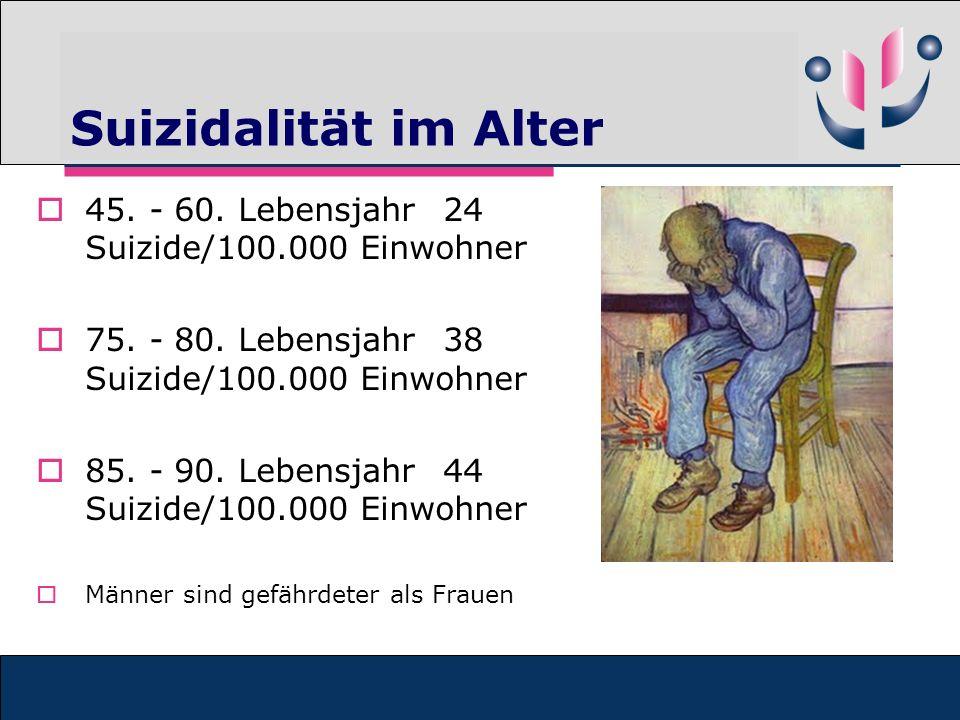 Suizidalität im Alter 45. - 60. Lebensjahr 24 Suizide/100.000 Einwohner. 75. - 80. Lebensjahr 38 Suizide/100.000 Einwohner.