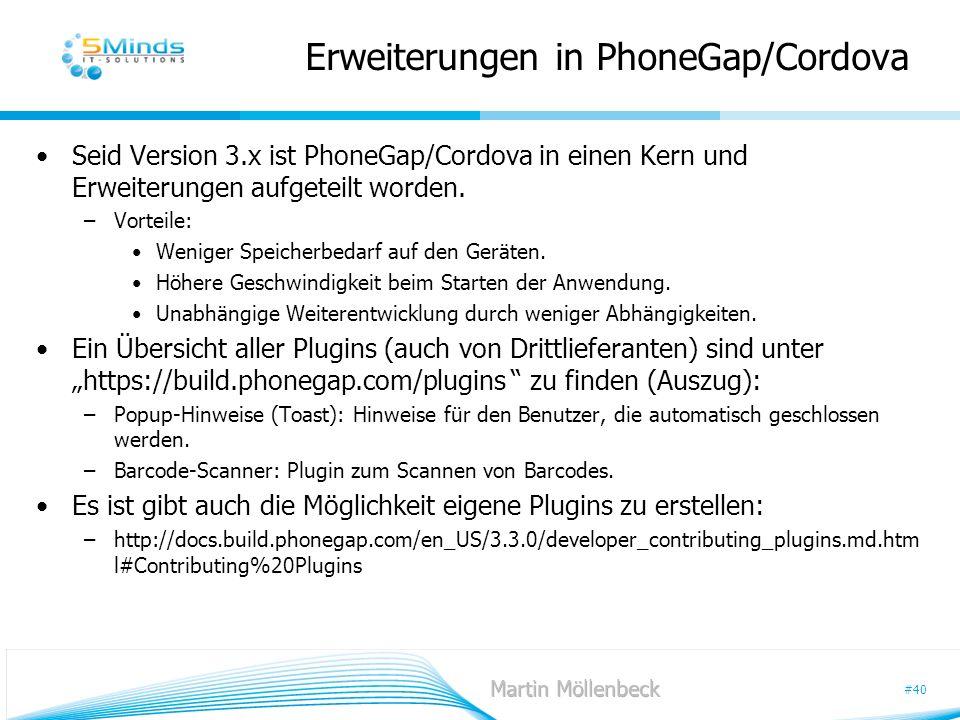 Erweiterungen in PhoneGap/Cordova