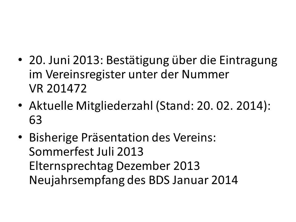 20. Juni 2013: Bestätigung über die Eintragung im Vereinsregister unter der Nummer VR 201472