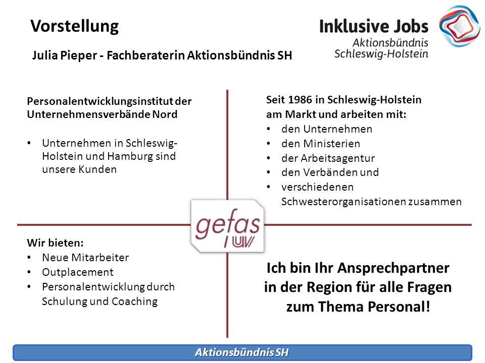Vorstellung Julia Pieper - Fachberaterin Aktionsbündnis SH. Personalentwicklungsinstitut der Unternehmensverbände Nord.