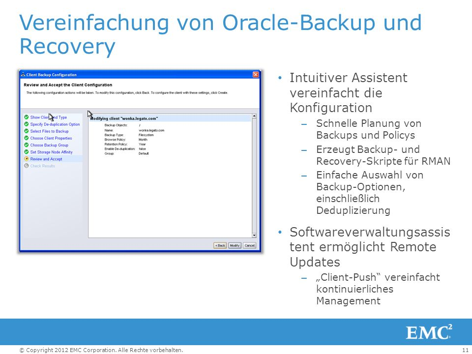 Vereinfachung von Oracle-Backup und Recovery