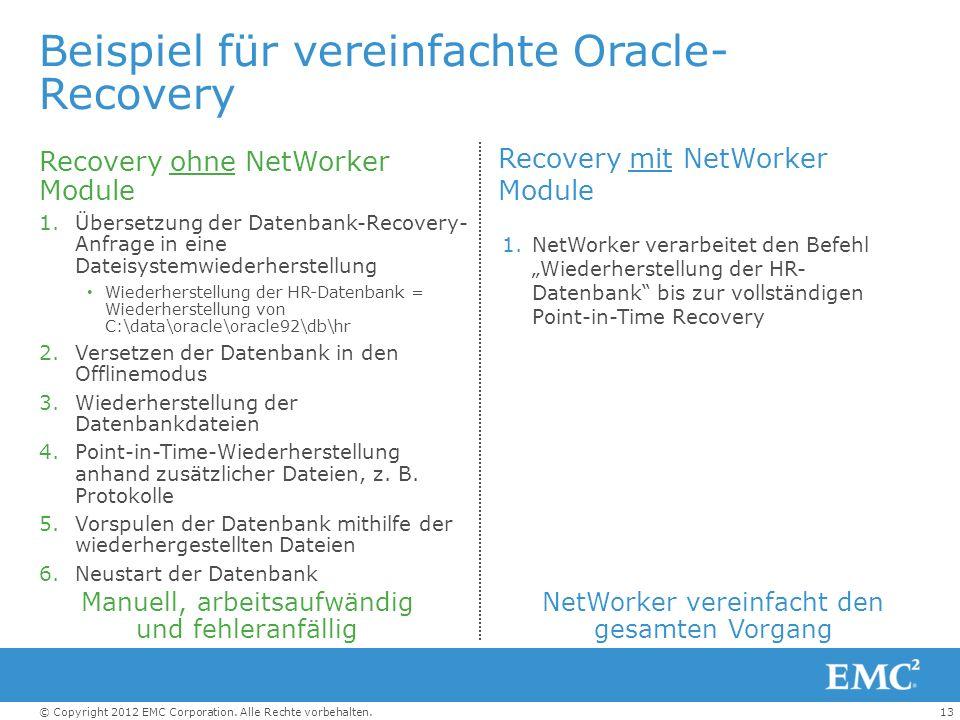 Beispiel für vereinfachte Oracle-Recovery
