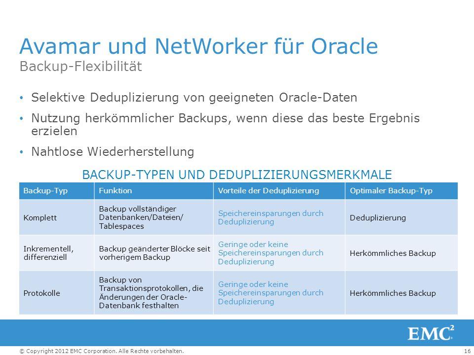 Avamar und NetWorker für Oracle