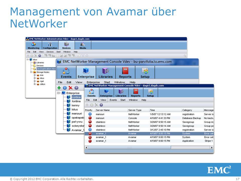 Management von Avamar über NetWorker