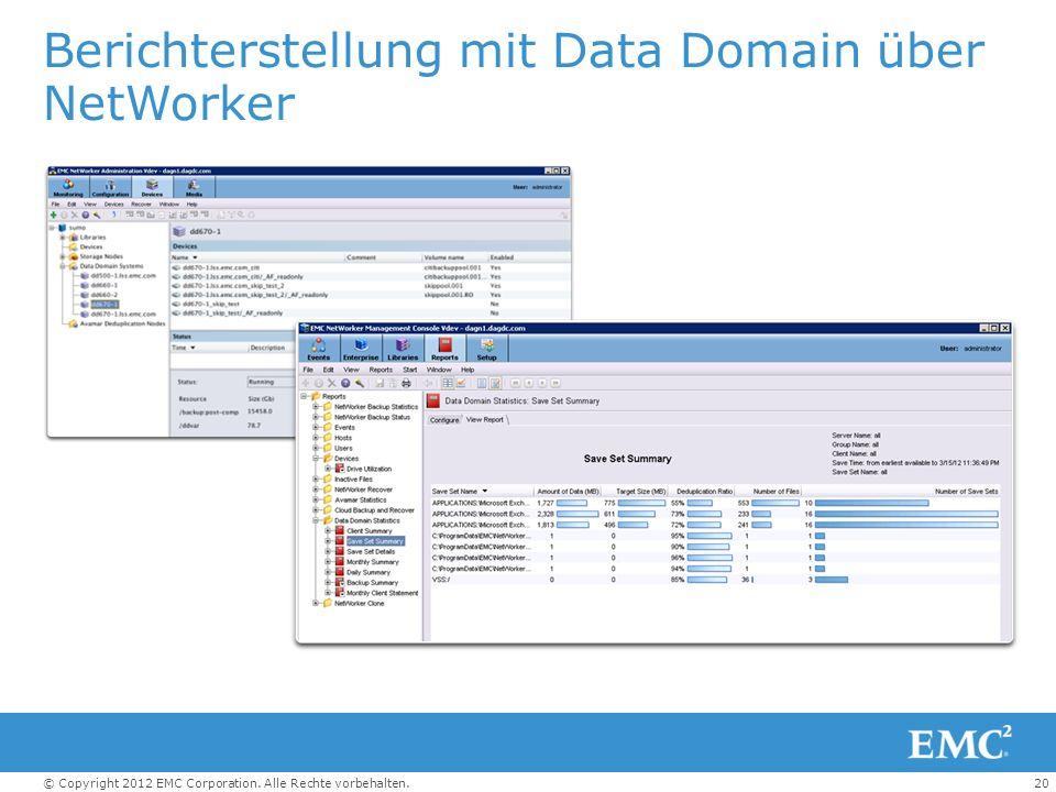 Berichterstellung mit Data Domain über NetWorker
