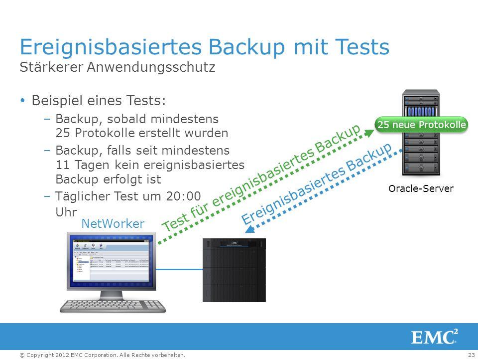 Ereignisbasiertes Backup mit Tests
