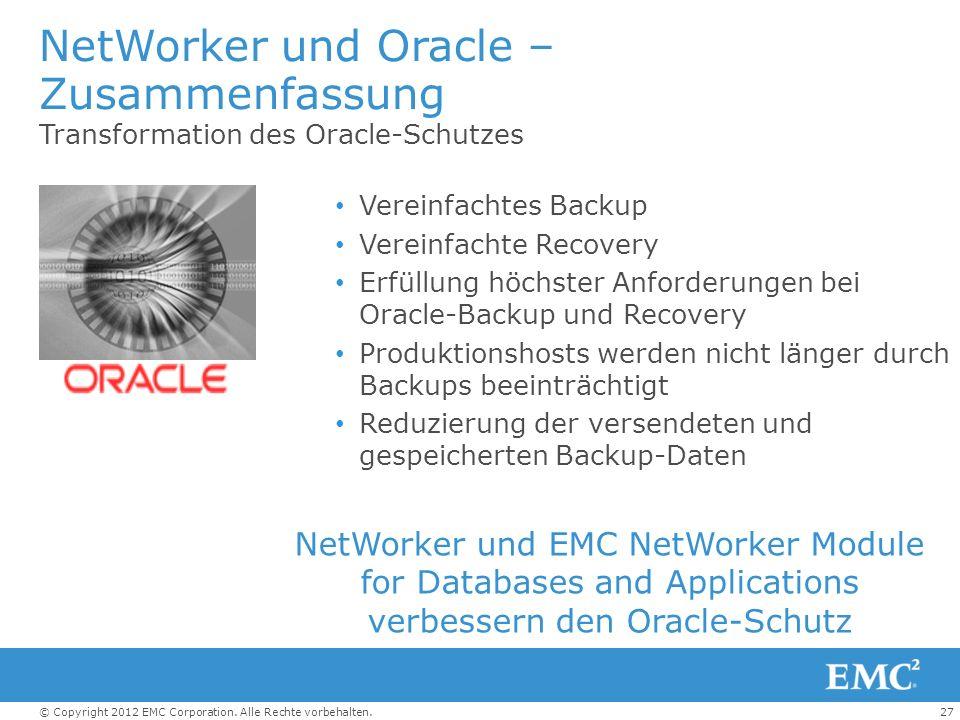 NetWorker und Oracle – Zusammenfassung