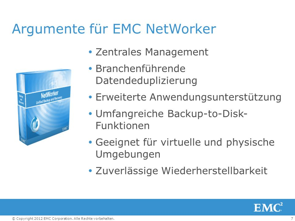 Argumente für EMC NetWorker