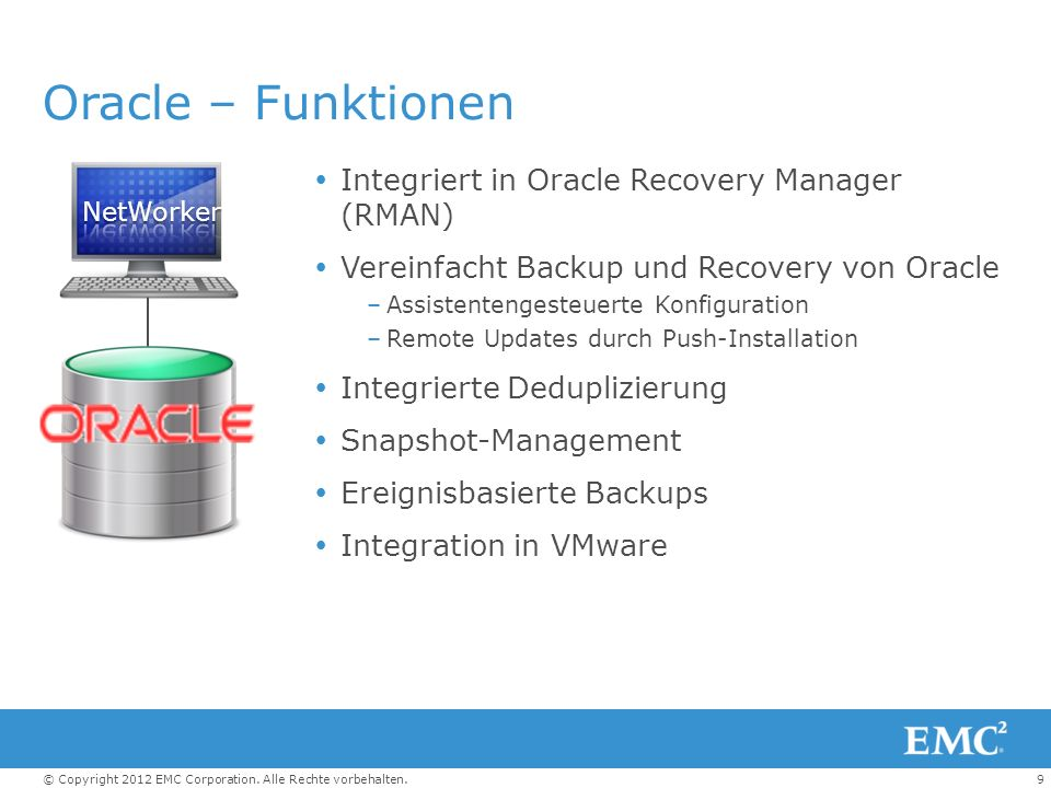 Oracle – Funktionen Integriert in Oracle Recovery Manager (RMAN)
