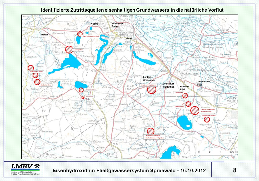 Identifizierte Zutrittsquellen eisenhaltigen Grundwassers in die natürliche Vorflut