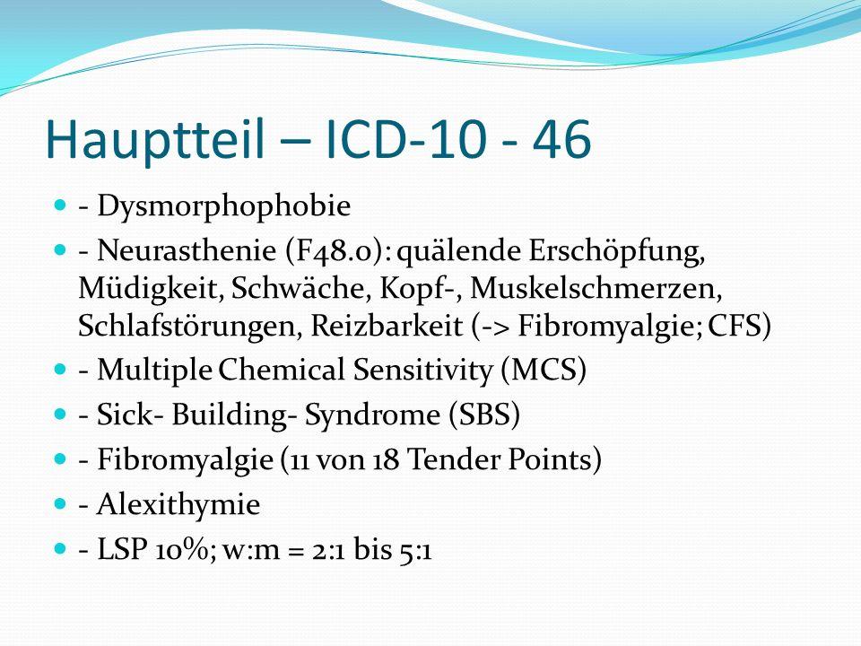 Hauptteil – ICD-10 - 46 - Dysmorphophobie