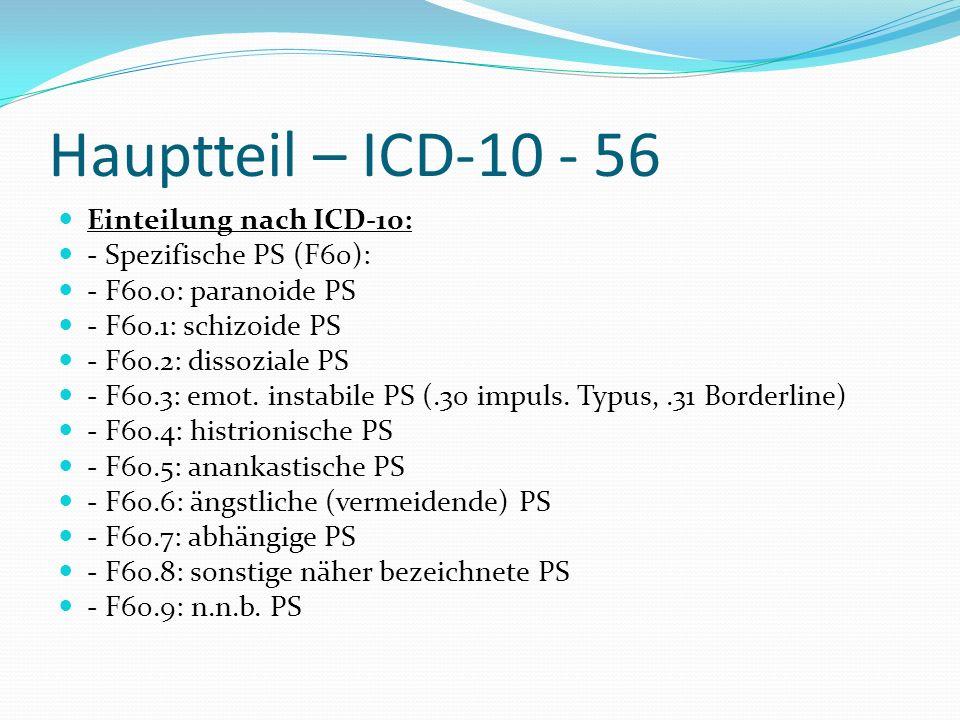 Hauptteil – ICD-10 - 56 Einteilung nach ICD-10: