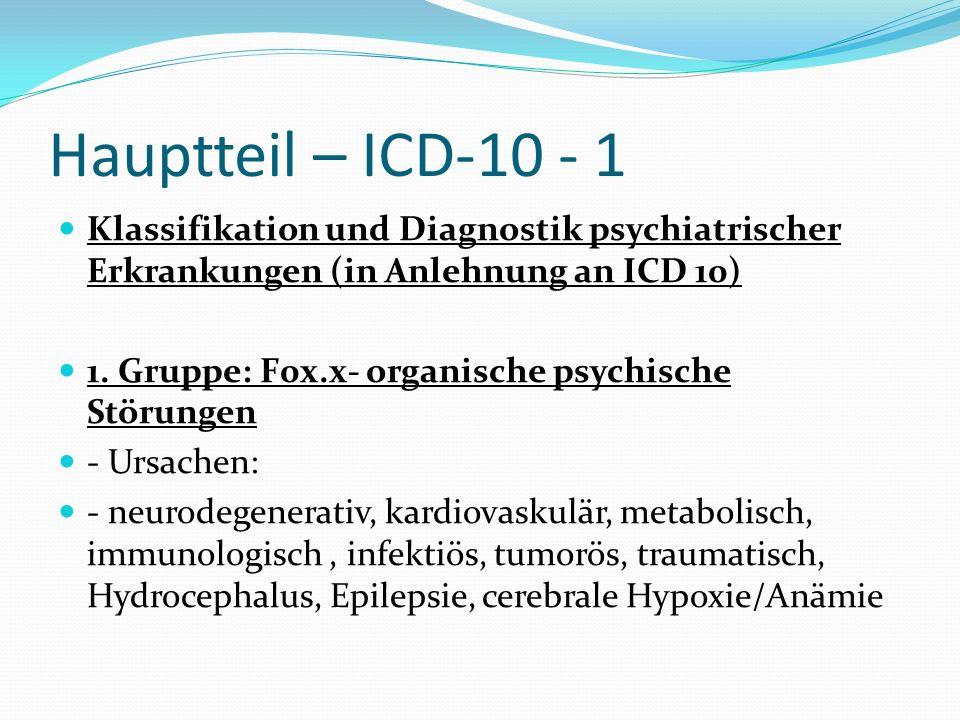 Hauptteil – ICD-10 - 1 Klassifikation und Diagnostik psychiatrischer Erkrankungen (in Anlehnung an ICD 10)