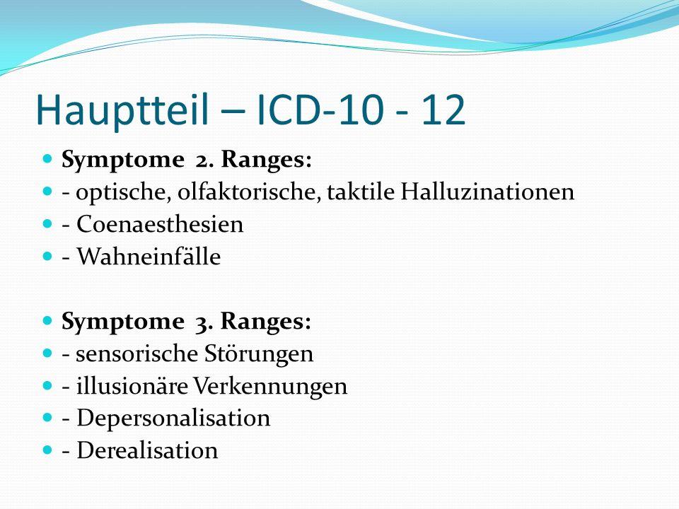 Hauptteil – ICD-10 - 12 Symptome 2. Ranges: