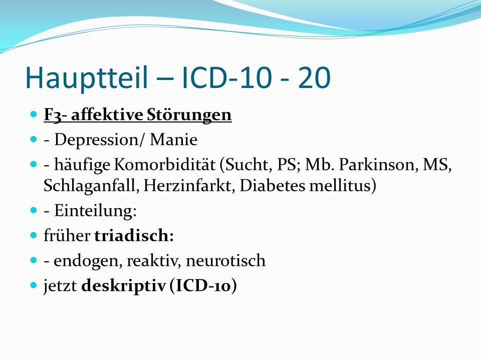 Hauptteil – ICD-10 - 20 F3- affektive Störungen - Depression/ Manie