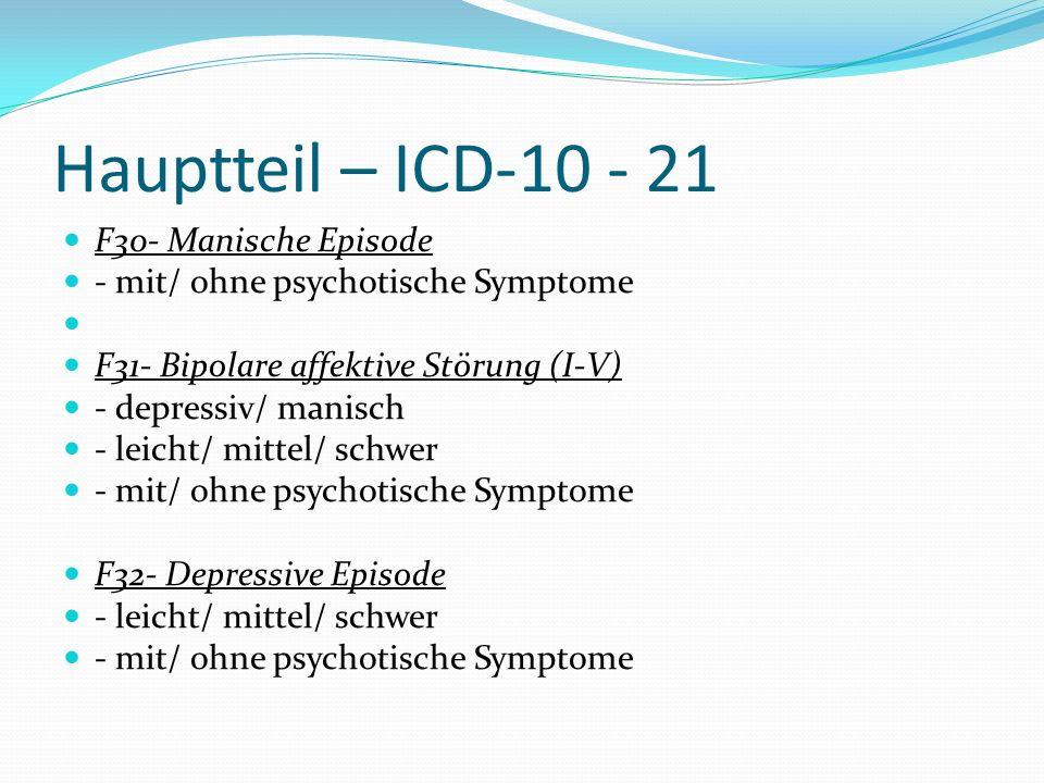 Hauptteil – ICD-10 - 21 F30- Manische Episode