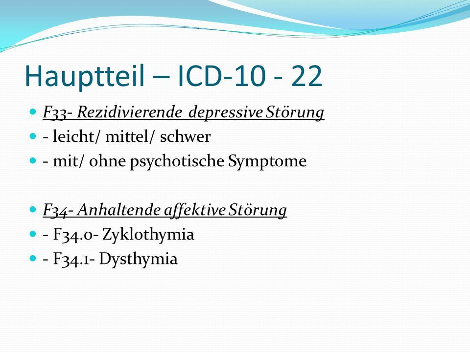 Hauptteil – ICD-10 - 22 F33- Rezidivierende depressive Störung