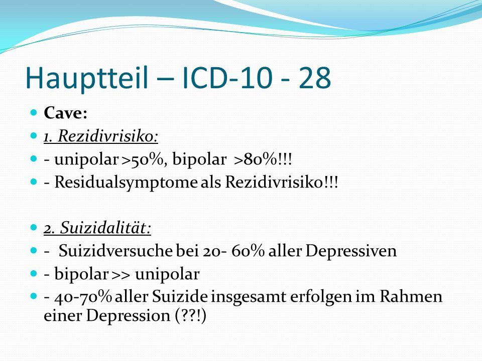 Hauptteil – ICD-10 - 28 Cave: 1. Rezidivrisiko:
