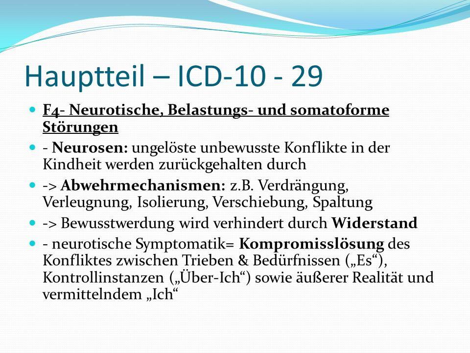 Hauptteil – ICD-10 - 29 F4- Neurotische, Belastungs- und somatoforme Störungen.