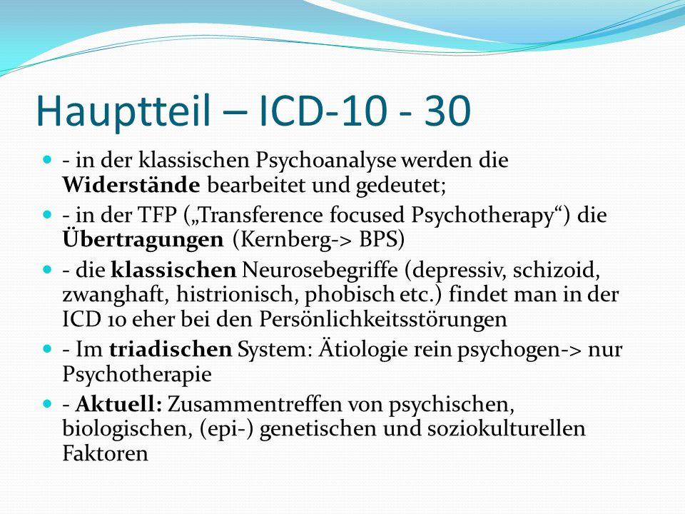 Hauptteil – ICD-10 - 30 - in der klassischen Psychoanalyse werden die Widerstände bearbeitet und gedeutet;