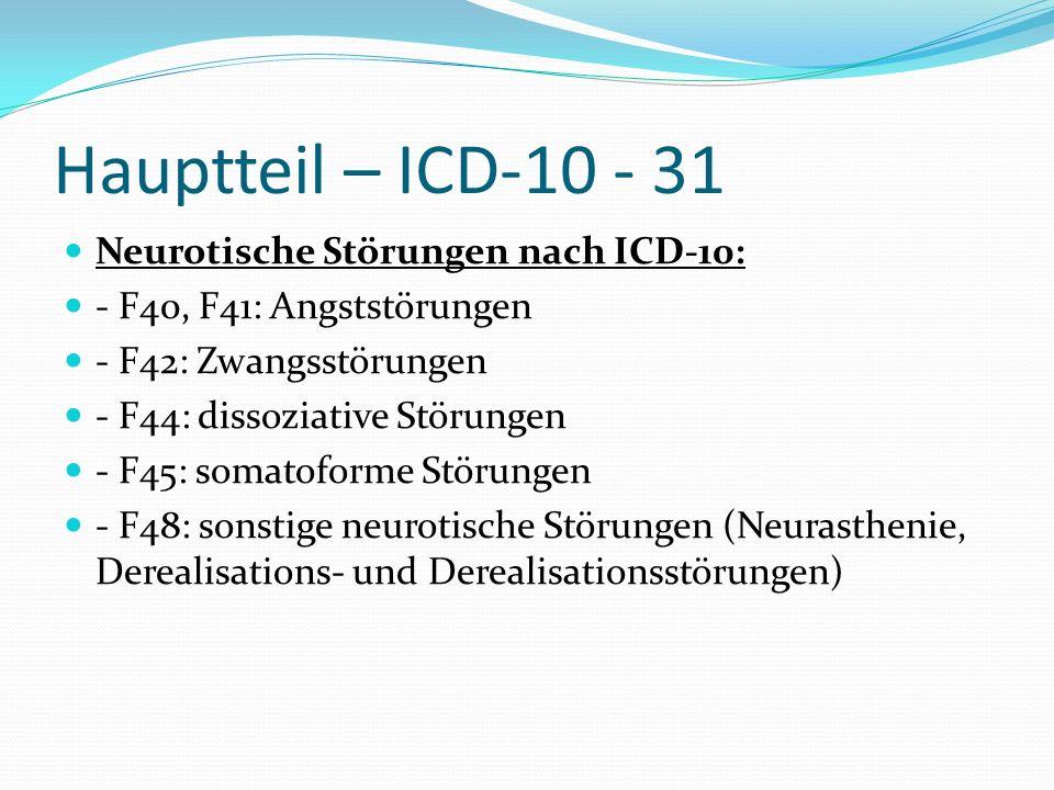Hauptteil – ICD-10 - 31 Neurotische Störungen nach ICD-10: