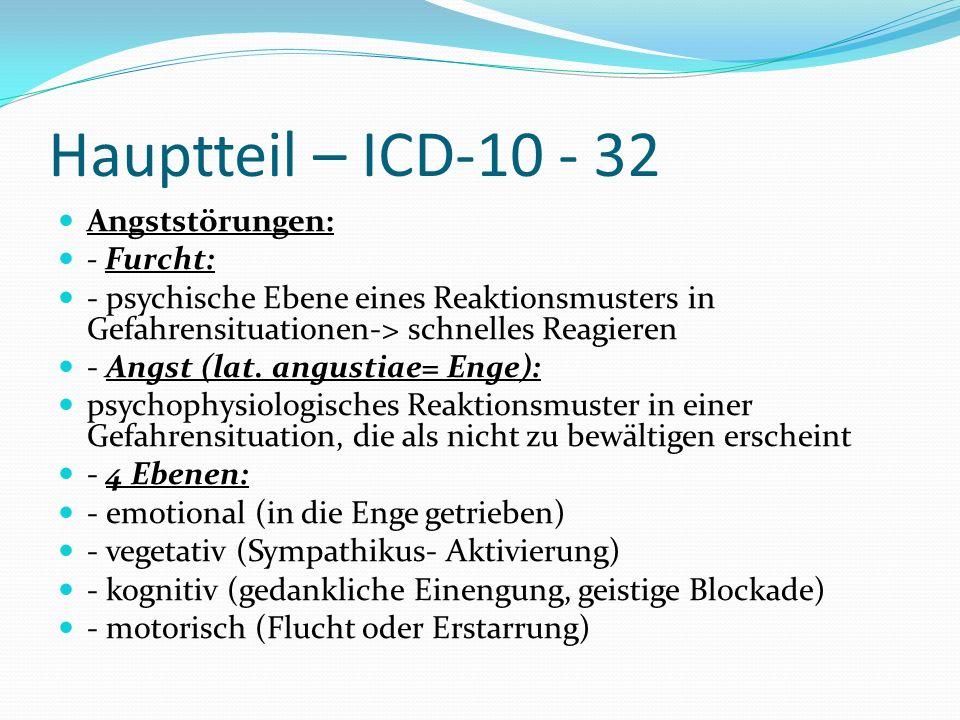 Hauptteil – ICD-10 - 32 Angststörungen: - Furcht: