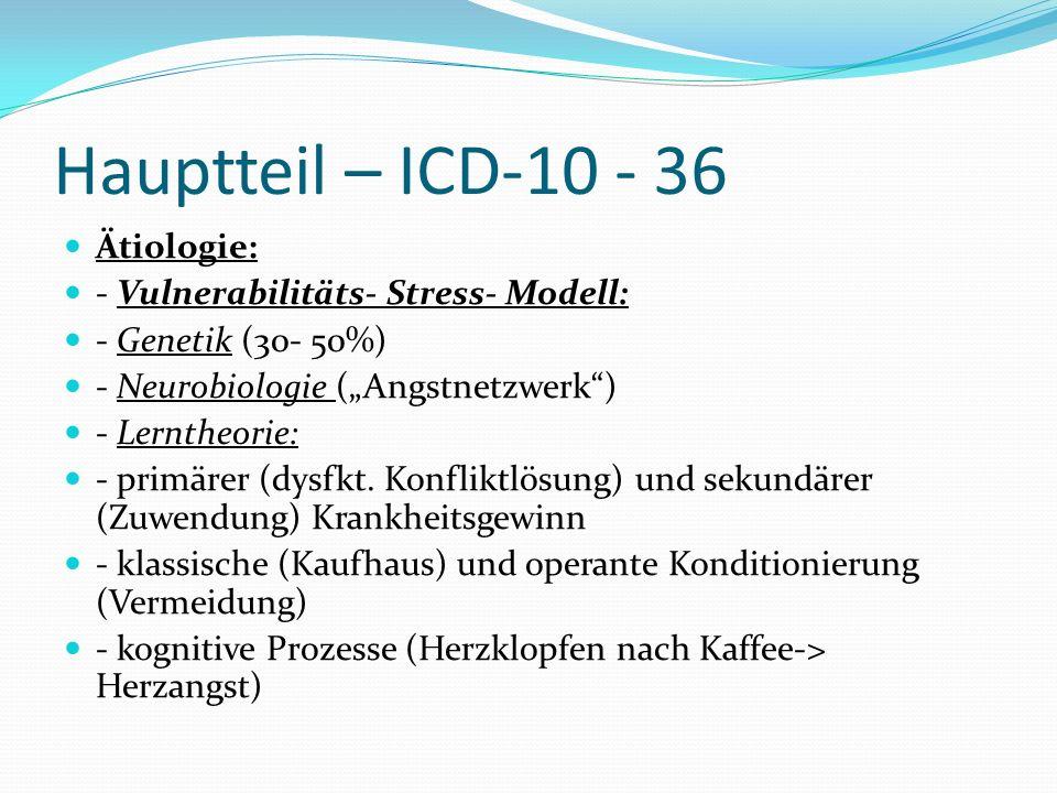 Hauptteil – ICD-10 - 36 Ätiologie: - Vulnerabilitäts- Stress- Modell: