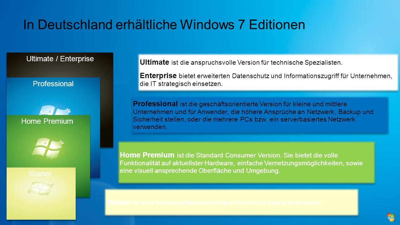 In Deutschland erhältliche Windows 7 Editionen