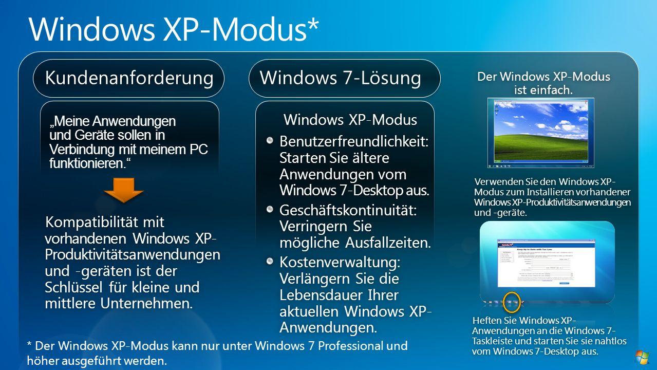 Der Windows XP-Modus ist einfach.