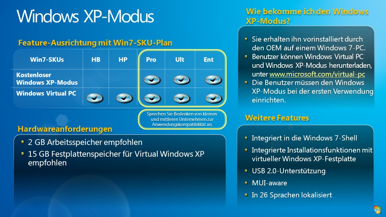 Windows XP-Modus Wie bekomme ich den Windows XP-Modus