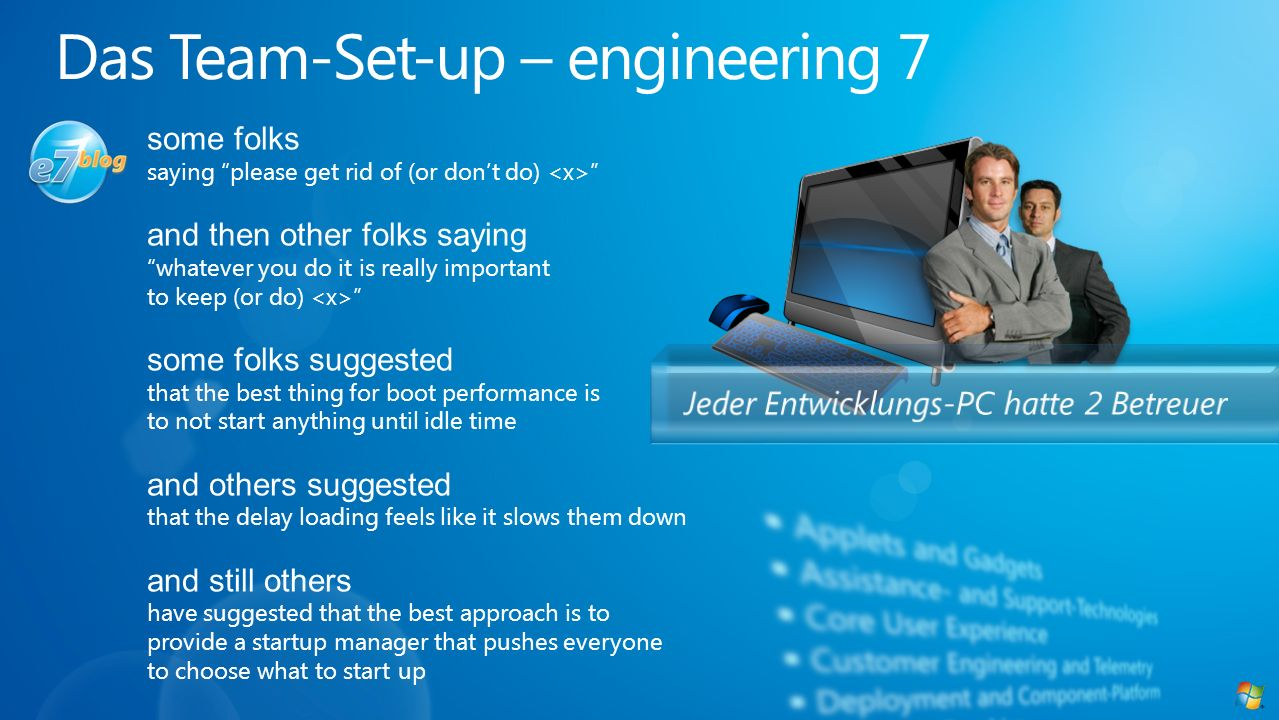 Das Team-Set-up – engineering 7