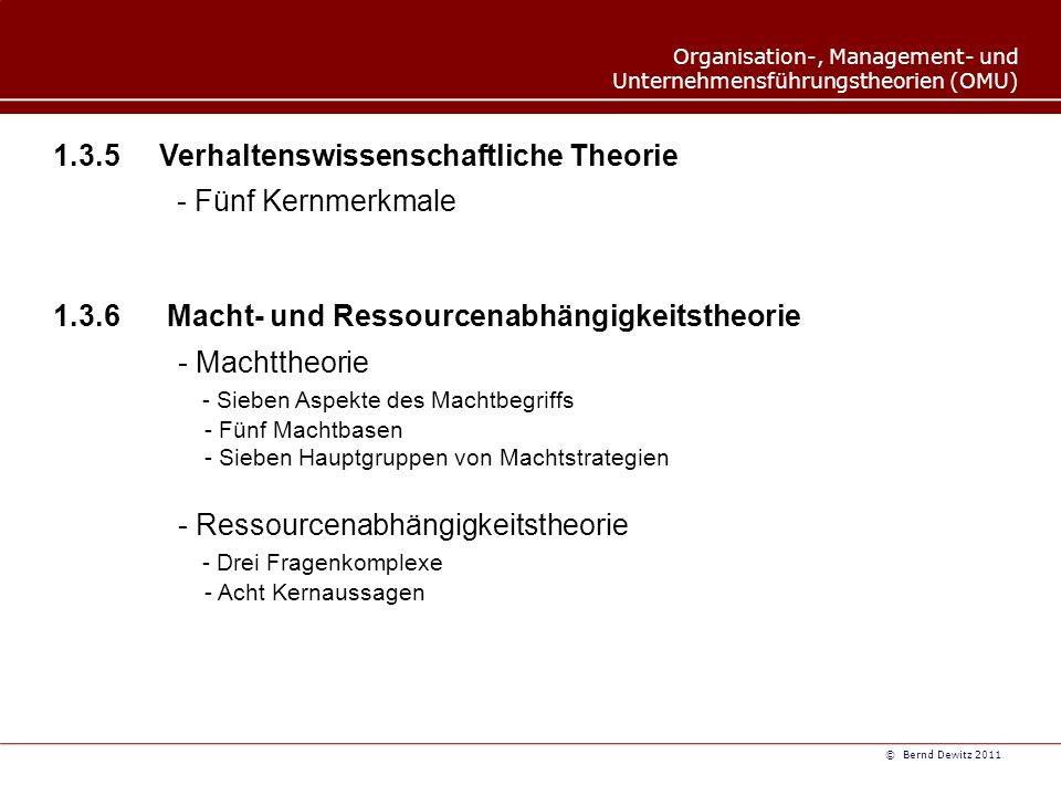1.3.5 Verhaltenswissenschaftliche Theorie