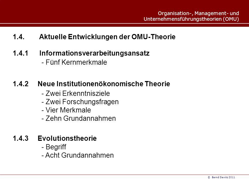 1.4. Aktuelle Entwicklungen der OMU-Theorie