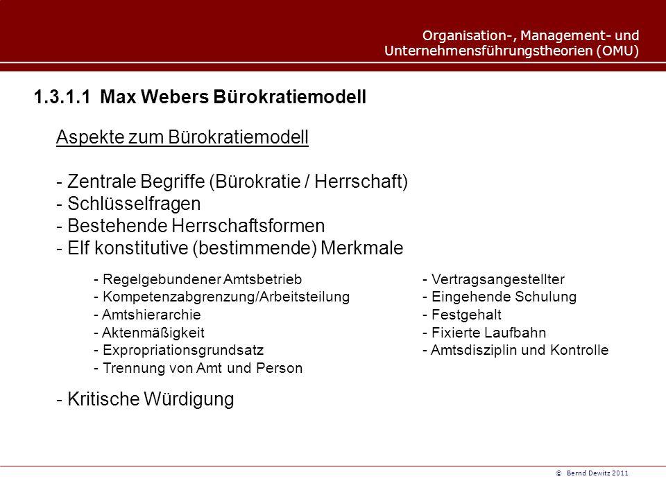 1.3.1.1 Max Webers Bürokratiemodell