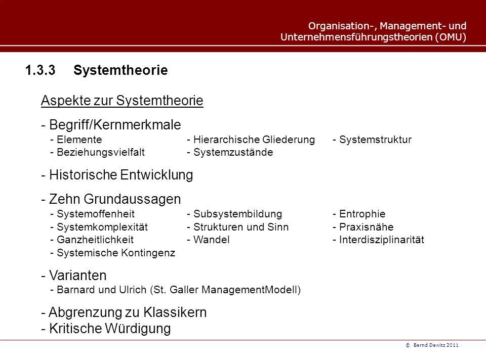 Aspekte zur Systemtheorie Begriff/Kernmerkmale