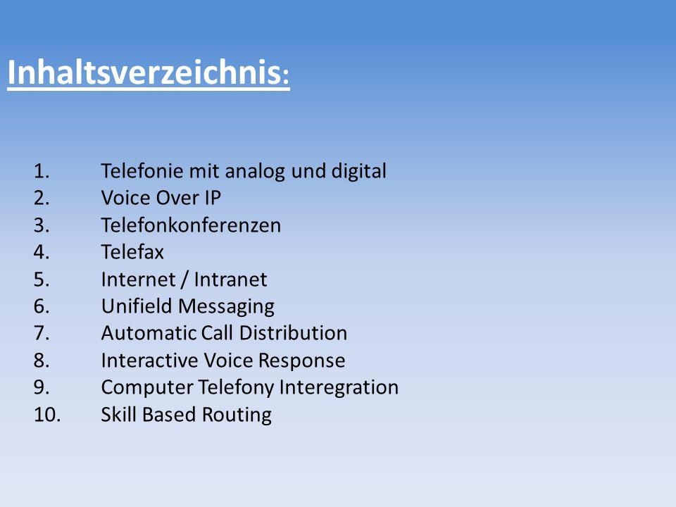Inhaltsverzeichnis: 1. Telefonie mit analog und digital