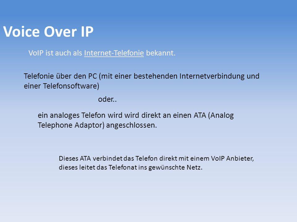 Voice Over IP VoIP ist auch als Internet-Telefonie bekannt.