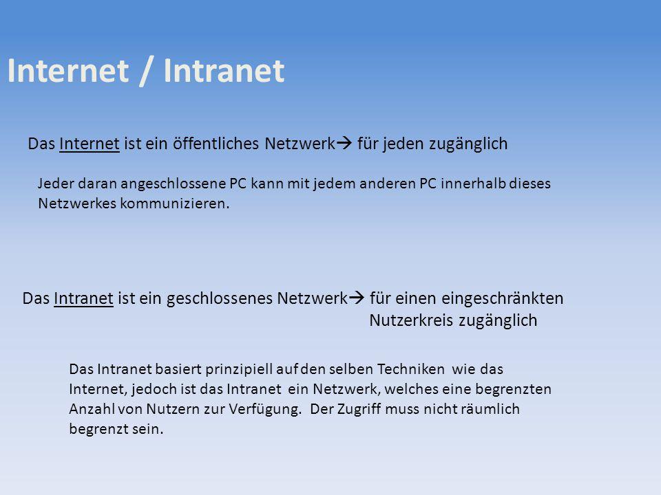 Internet / Intranet Das Internet ist ein öffentliches Netzwerk für jeden zugänglich.
