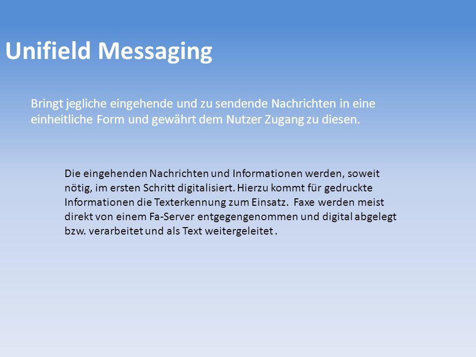 Unifield Messaging Bringt jegliche eingehende und zu sendende Nachrichten in eine einheitliche Form und gewährt dem Nutzer Zugang zu diesen.
