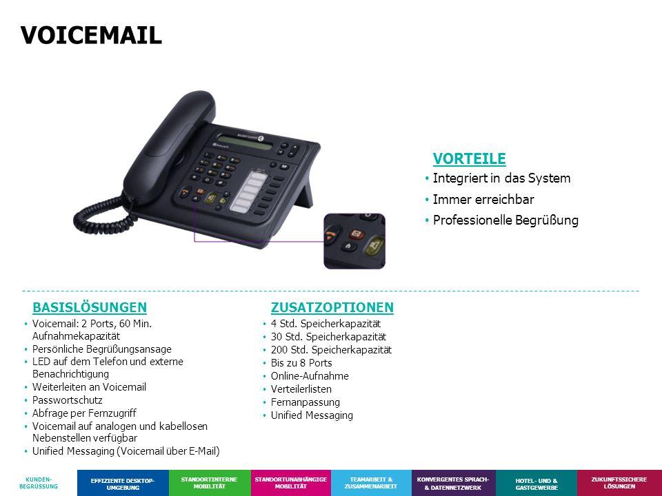 VOICEMAIL VORTEILE Integriert in das System Immer erreichbar