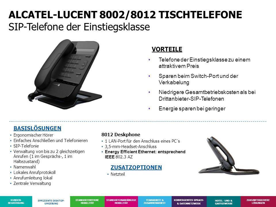 ALCATEL-LUCENT 8002/8012 TISCHTELEFONE SIP-Telefone der Einstiegsklasse