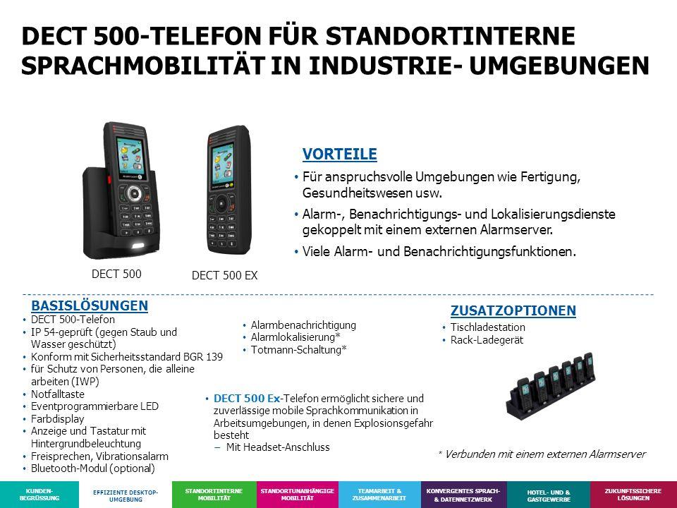 DECT 500-TELEFON FÜR STANDORTINTERNE SPRACHMOBILITÄT IN INDUSTRIE- UMGEBUNGEN