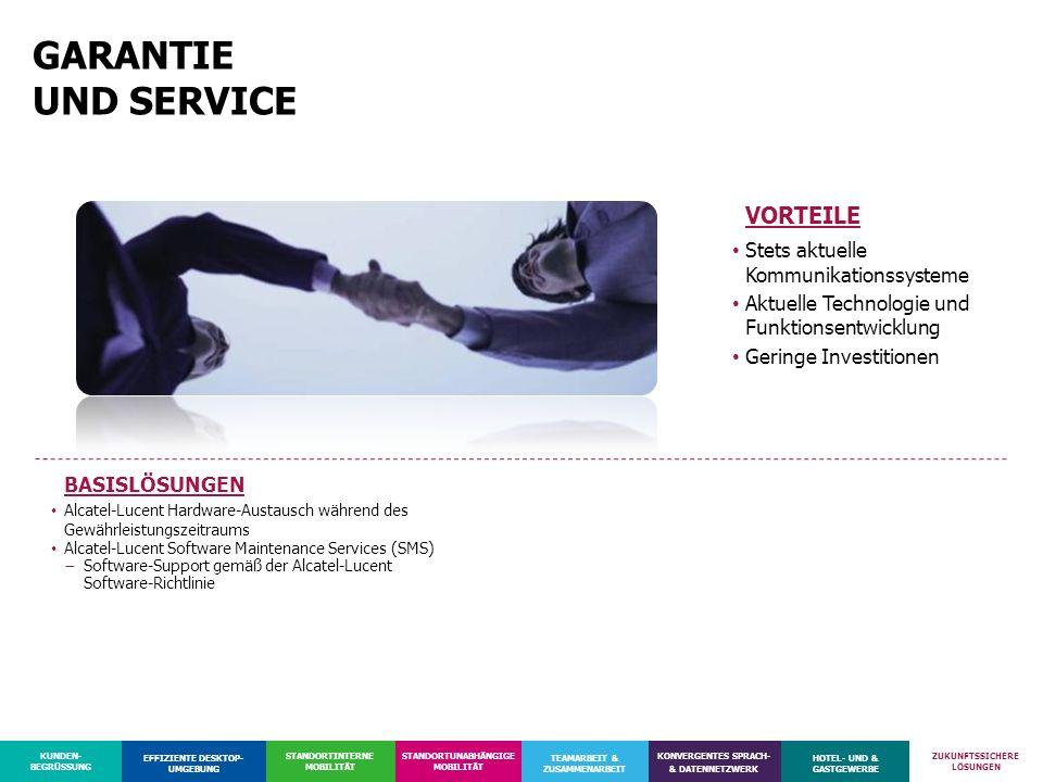 GARANTIE UND SERVICE VORTEILE Stets aktuelle Kommunikationssysteme
