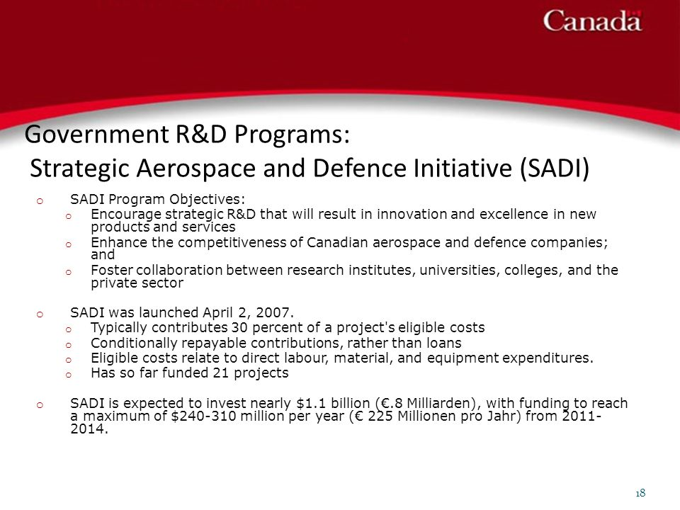 Government R&D Programs: Strategic Aerospace and Defence Initiative (SADI)