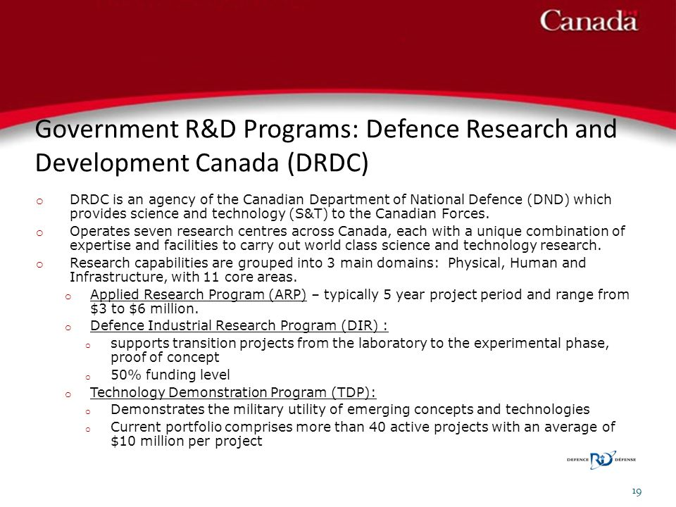 Government R&D Programs: Defence Research and Development Canada (DRDC)