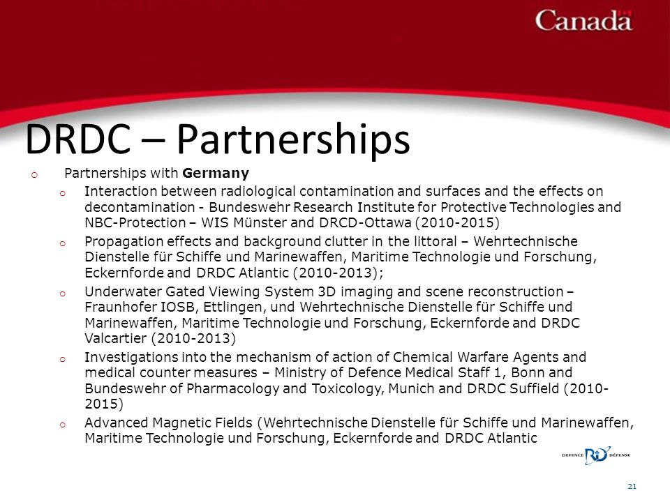 DRDC – Partnerships Partnerships with Germany