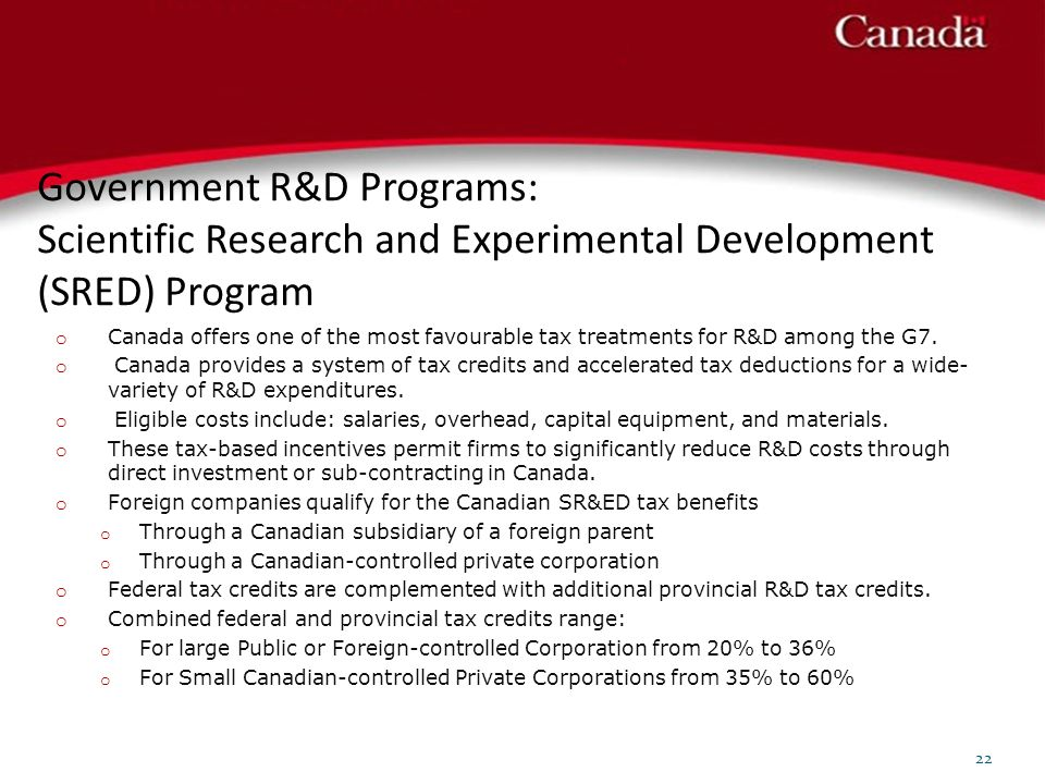 Government R&D Programs: Scientific Research and Experimental Development (SRED) Program